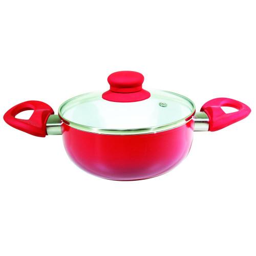 Cacarola de Ceramica com Tampa de Vidro nº 16 Vermelho [Catuaí 33272]