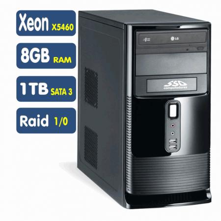 Servidor,  Xeon X5460, Clock 3.16GHz, Núcleos 4, Cache 12 Mb, Ram 8GB, HD 1TB, Sata 3, Raid 1/0, DVD, Teclado e Mouse  [SSD LSP-1101]