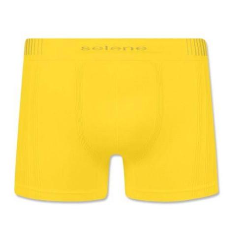 Cueca Boxer Selene Poliamida Sem Costura, Amarela, 11070